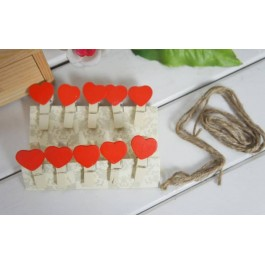 (10Pcs) Heart Pegs With String
