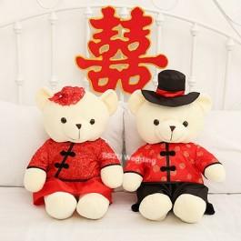 (1 Pair) Chinese Wedding Bear Wedding Car Decor Bridal Room Couple Gift