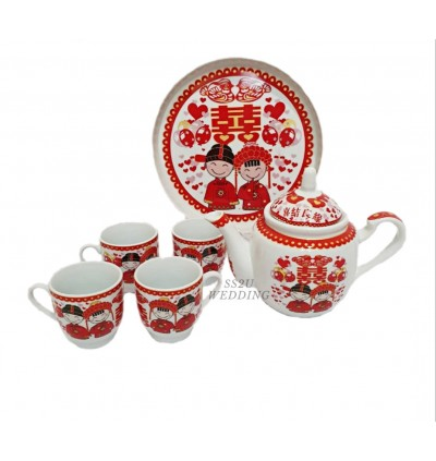 (Ready Stock) Red Bridal Teaset