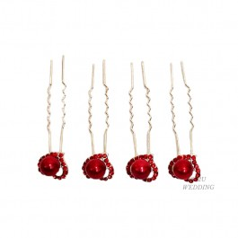 4 Red Pearls Set