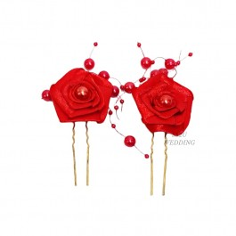 (2Pc) Red Flower Hair Accessories