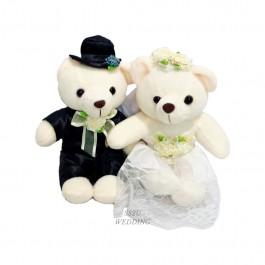 (1 Pair) White Romantic Wedding Bear