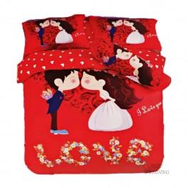 K Love Bedsheet Red